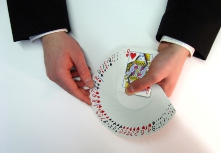 Fan of cards by close up magician