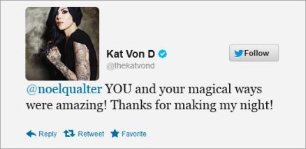 Kat Von D tweet about close up magician