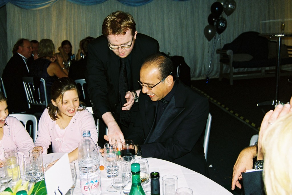 Magician performing for Theo paphitis