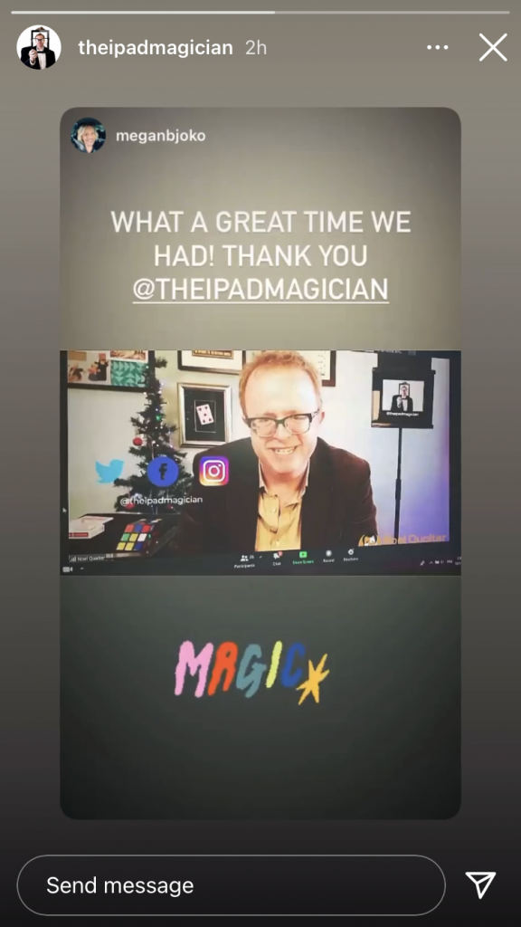 Zoom Magician Noel Qualter performing his Christmas show on Zoom